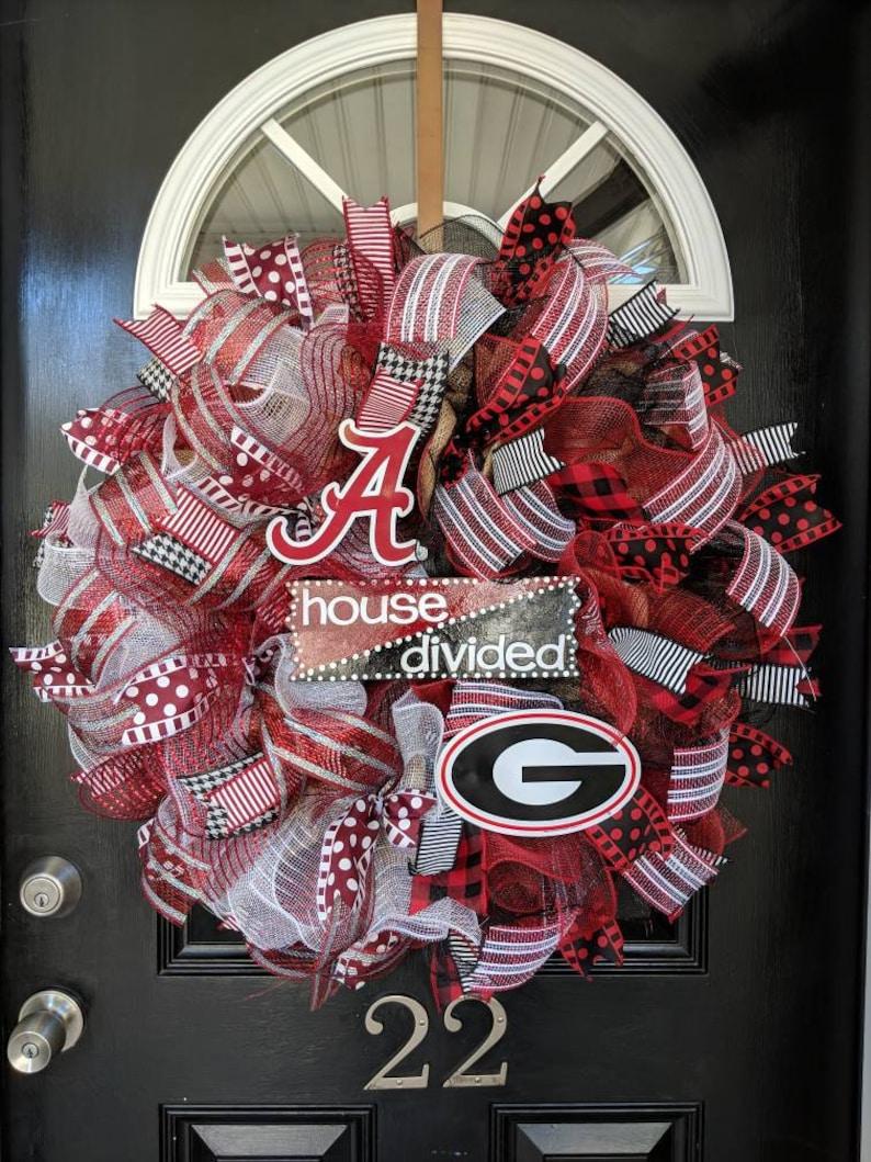 House Divided Wreath Burlap Wreath Alabama Crimson Tide Wreath Georgia Bulldogs Wreath