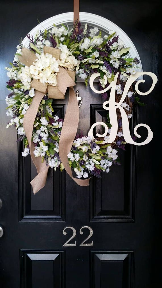 Grapevine Wreath Hydrangeas Monogram Initial Wreath Wedding Etsy