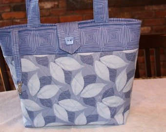 Blue Leaf Pattern Quilted Tote Bag