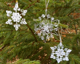 Magical paper quilled Snowflakes - set of three