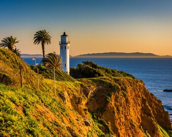 View of Point Vicente Lighthouse at sunset, in Rancho Palos Verdes, California. Photo Print, Metal, Canvas, Framed.