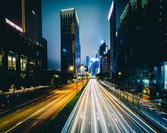 Gloucester Road and modern skyscrapers at night, in Wan Chai, Hong Kong, Hong Kong. Photo Print, Metal, Canvas, Framed.