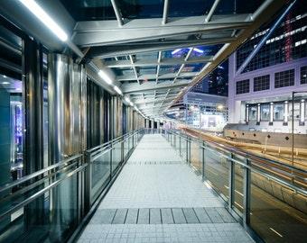 Pedestrian walkway and modern skyscrapers at night, in Hong Kong, Hong Kong. Photo Print, Metal, Canvas, Framed.