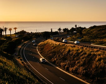 View of Palos Verdes Drive at sunset, in Rancho Palos Verdes, California. Photo Print, Metal, Canvas, Framed.