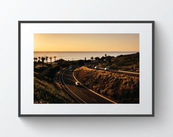 View of Palos Verdes Drive at sunset, in Rancho Palos Verdes, California | Photo Print, Metal, Canvas, Framed.