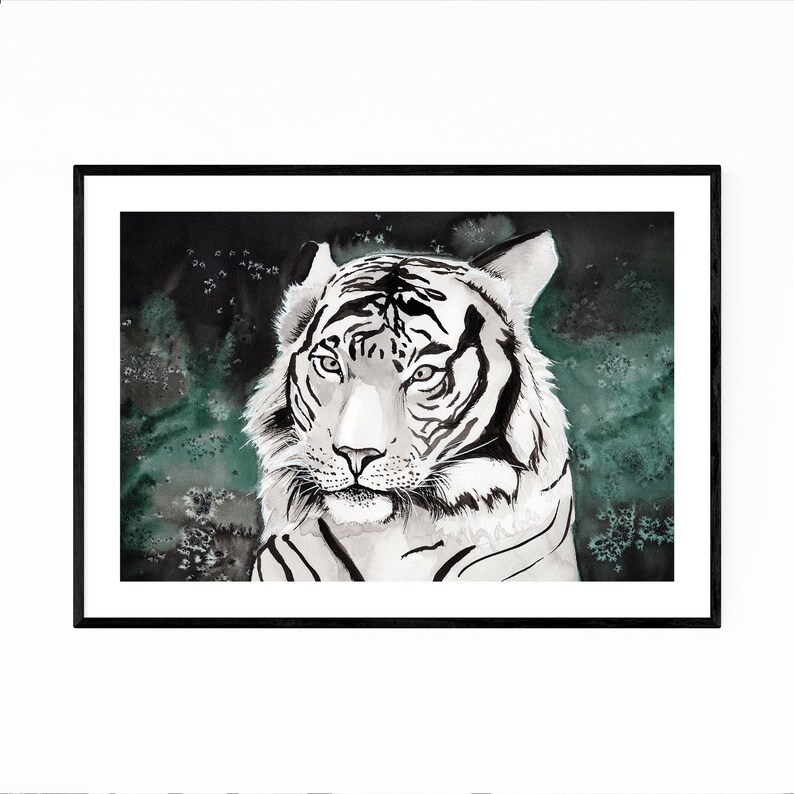 """Beautiful White Tiger Abstract Watercolour Canvas Print Poster 8X10/"""""""