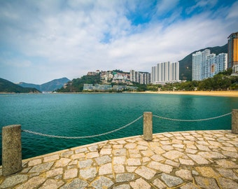View of skyscrapers and beach from a pier at Repulse Bay, in Hong Kong, Hong Kong. Photo Print, Metal, Canvas, Framed.