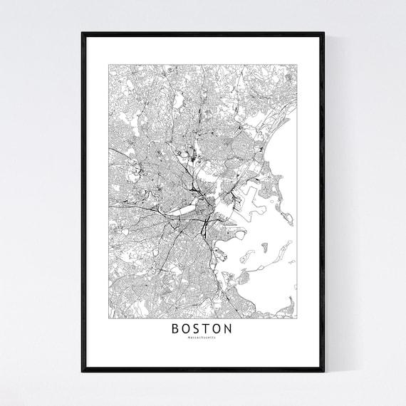Boston Map Print Boston Map Poster Boston Wall Art Boston Etsy