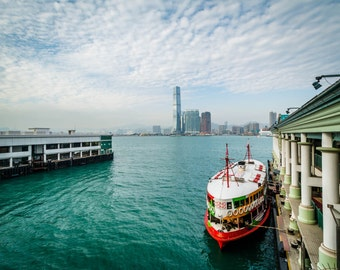 View of piers and a boat at Central, in Hong Kong. Photo Print, Metal, Canvas, Framed.