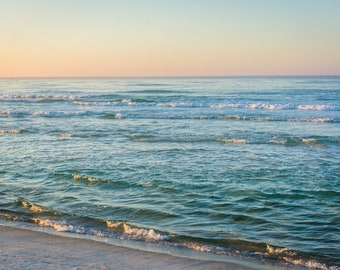 Waves in the Gulf of Mexico at sunrise, in Panama City Beach, Florida. Photo Print, Metal, Canvas, Framed.