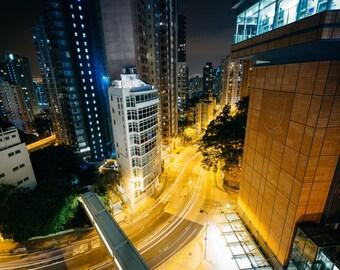 View of skyscrapers and Pok Fu Lam Road at night, from Hong Kong University, in Hong Kong. Photo Print, Metal, Canvas, Framed.