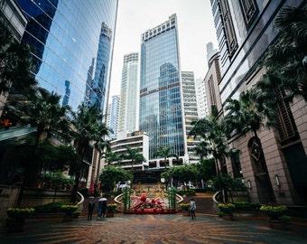 Park and modern skyscrapers at Sheung Wan, in Hong Kong, Hong Kong. Photo Print, Metal, Canvas, Framed.
