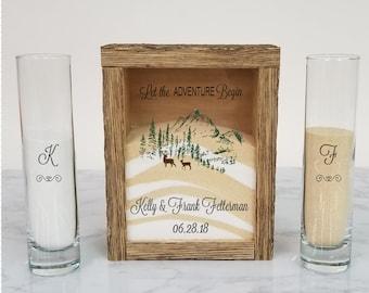 Rustic Unity Sand Ceremony Set Shadow Box, Unity Candle Alternative for Barn Wedding, Rustic Wedding, Country Wedding, or Woodlands Wedding