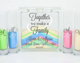 Blended Family Wedding Sand Ceremony Jar with Lid, Unity Candle Alternative, Together We Make a Family, Blended Family Sand Set with Sand