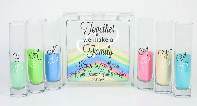 Blended Family Wedding Sand Ceremony Jar with Lid Unity image 0