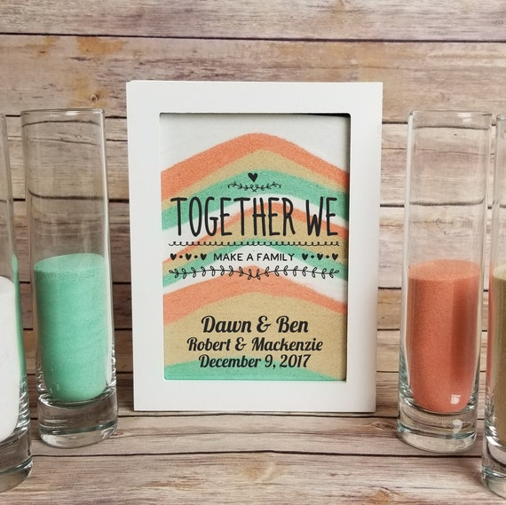 Blended Family Sand Ceremony Set Together We Make A Family Shadow Box Kit Unity Candle Alternative Blended Family Sand Frame With A Lid
