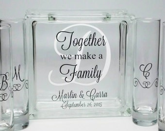 Blended Family Sand Ceremony Set, Unity Candle Alternative, Together We Make a Family, Beach Wedding Decor, Blended Family Wedding Theme