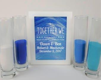Blended Family Wedding Sand Ceremony Set, Shadow Box Kit, Unity Candle Alternative, Together We Make a Family, Blended Family Sand Frame