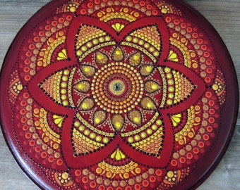Mandala red, yellow, round 32 cm on eardrum, mandala dotting, poppy flower, wall hanging, meditation