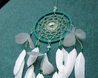 Dream catcher with rock crystal and turquoise, white, dreamcatcher