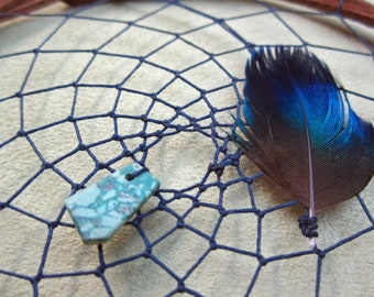 Traumnetz Totem Biber, Traumarbeit, Stier, dreamcatcher, blau, Chrysokoll