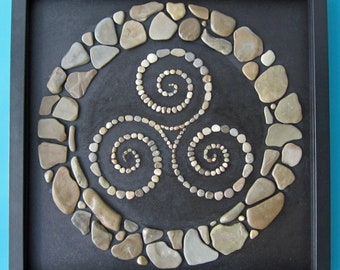 Triskele in stone circle, framed, 3D frame black, 40 x 40 cm, stone picture, picture of stones, collage