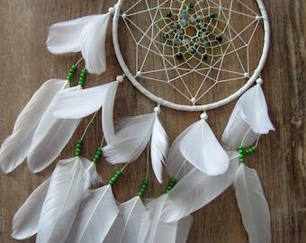 Dreamcatcher White Green, Totem Deer, Zodiac Twin, Moosachat