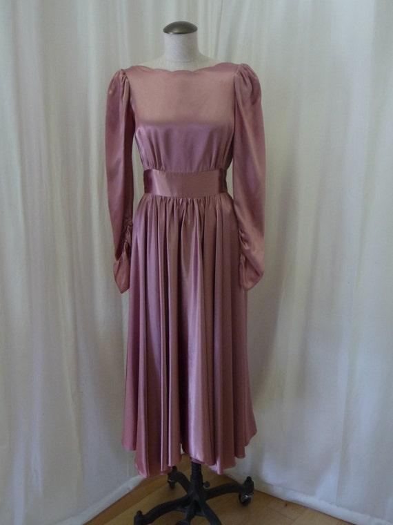1940's Style Pierre de Roche Charmeuse Dress