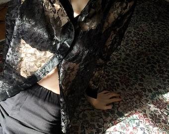 90s Sheer Lace Black Blouse.