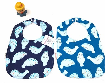 Manatee Baby Bibs - Set of Baby Bibs - Ocean Bibs - Fish Baby Bibs - Newborn Baby Bibs - Blue Bibs - Gender Neutral Bibs - Fishing Bib