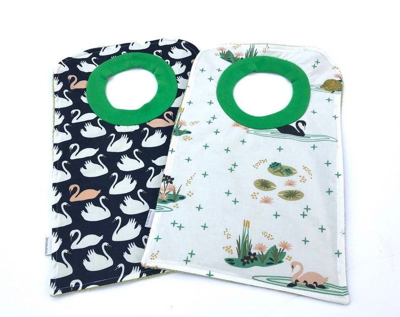 Girls Pullover Bibs With Swans Baby Bib Set Over The Head Bibs Large Toddler Bibs Organic Bib Babys First Birthday New Mom Gift