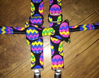 Easter egg bright pink yellow and blue print Suspenders and Bow tie/Boy/Toddler/Child/Great for Ring Bearers - Weddings/easter outfit/spring