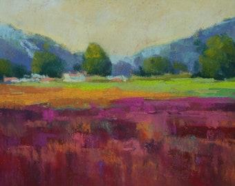 Farm Field - 5x7-Original Pastel