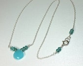 Aqua Chalcedony Necklace, Sterling Silver Necklace, Simple Silver Necklace, Apatite Gemstones, Blue Silver Necklace, Gift for Her