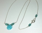 Aqua Chalcedony Necklace,...