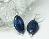 Lapis Lazuli Earrings, Dark Blue Earrings, Sterling Silver Lapis Earrings, Lapis Drop Earrings, Protection Stone, Blue Stone Earrings