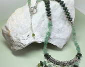 Green Adventurine Necklace Set, Tribal Necklace, Boho Style, Dark Green Beads, Silver Statement Necklace, Crystal Silver Bar Dangles