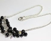 Black Onyx Necklace, Black and White Cluster Necklace, Onyx and Swarovski Crystals, Protection Stone