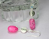Pink Quartz Earrings, Cracked Crystal Quartz, Pink Dangle Earrings, Protection Stones, Pink Stone Earrings