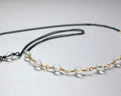 Rock Crystal Quartz Necklace in Gold, Mixed Metal Jewelry, Gold Wire Wrapped Gemstones, Black Chain, Beaded Crystal