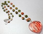 Large Gemstone Pendant, Cherry Quartz Necklace, Large Quartz Gemstone, Quartz Wire Wrapped Pendant Gemstone Necklace