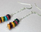 Long Pearl Earrings, Rainbow Pearl Drop Earrings, Long Dangles, Sterling Silver MOP Dangles, Multi-Colored Pearl Earrings