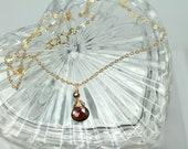 Garnet Necklace, Red Garnet, Gold Garnet Necklace, January Birthstone, Minimalist Necklace, 14k Gold Filled, Dainty Necklace