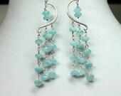 Aquamarine Blue Quartz Earrings, Gemstone Dangles, Long Quartz Earrings, Weddings, Bridal Earrings, Dangle Drop Earrings