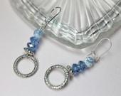 Blue Agate Crystal Earrin...