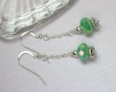 Green Crystal Dangle Earring, Green Crystal Drops, Silver Chain, Long Green Dangle Earrings