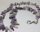 Amethyst Statement Necklace in Silver, Lavender Gemstone Spikes, Tribal Necklace, Long Amethyst Beaded Necklace, Boho Chic