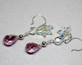 Pink Crystal Earrings, Pink Wire Wrapped Crystals, Crystal Dangles, Swarovski Crystal Earrings, Bridal Earrings, Pink Stone Earrings