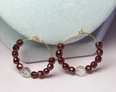 Red Hoop Earrings, CZ Bea...