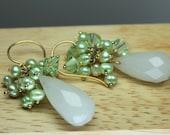 White Jade Earrings, Pear...